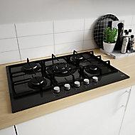 Cooke & Lewis CLGOGUIT5 5 Burner Black Glass Gas Hob, (W)750mm