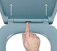 Cooke & Lewis Diani Blue Top fix Soft close Toilet seat