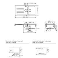 Cooke & Lewis Galvani Grey Composite quartz 1.5 Bowl Sink & drainer