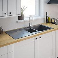 Cooke & Lewis Ising Grey Resin 1.5 Bowl Sink & drainer