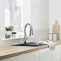 Cooke & Lewis Kareena Chrome effect Kitchen Side lever pull out Mixer tap