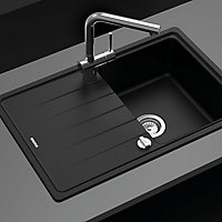 Cooke & Lewis Kirchoff Black Composite quartz 1 Bowl Sink & drainer