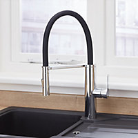 Cooke & Lewis Kloey Chrome effect Kitchen Side lever Mixer tap