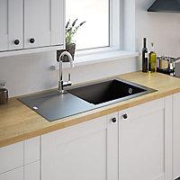 Cooke & Lewis Lavoisier Black Resin 1 Bowl Sink & drainer