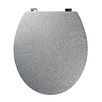 Cooke & Lewis Nosara Silver Glitter effect Standard close Toilet seat