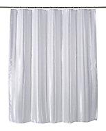 Cooke & Lewis Pasni White Satin stripe Shower curtain (L)1800mm