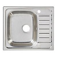 Cooke & Lewis Sagan Polished Inox Stainless steel 1 Bowl Sink & drainer