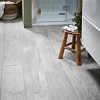 Cotage wood Grey Matt Wood effect Porcelain Wall & floor Tile, Pack of 4, (L)1200mm (W)200mm