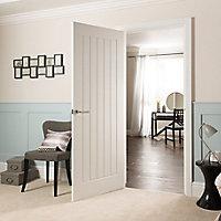 Cottage Pre-painted White Woodgrain effect LH & RH Internal Door, (H)1981mm (W)762mm