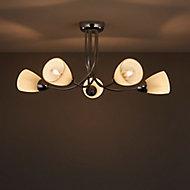 Cura Chrome effect 5 Lamp Ceiling light