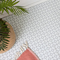 D-C-Fix Bloomy Grid Grey & white Patterned Mosaic effect Self adhesive Tiles, Pack of 11, Sample