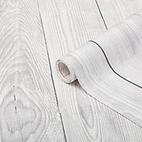 D-C-Fix Planked wood Grey & white Self-adhesive film (L)2.1m (W)900mm