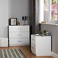 Darwin Gloss white 3 Drawer Chest (H)787mm (W)800mm (D)420mm