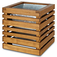 Denia Oiled wood natural Wooden Square Planter with Zinc plant pot 50cm