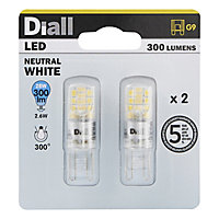 Diall 2W 300lm Capsule Neutral white LED Light bulb, Pack of 2