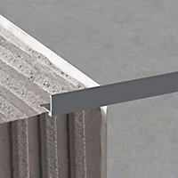 Diall Anthracite 10mm Straight Aluminium Tile trim