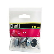 Diall Black & grey PTFE Glide (Dia)25mm, Pack of 4