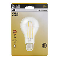 Diall E27 12W 1521lm GLS Warm white LED Dimmable Light bulb