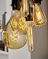 Diall E27 6W 470lm ST64 Warm white LED Filament Light bulb