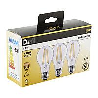 Diall E27 6W 806lm GLS Warm white LED Light bulb, Pack of 3