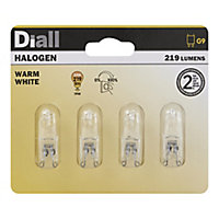 Diall G9 19W Capsule Warm white Halogen Dimmable Light bulb, Pack of 4
