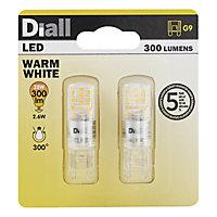 Diall G9 2W 300lm Capsule Warm white LED Light bulb, Pack of 2