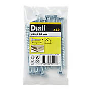 Diall Hex Zinc-plated Carbon steel Coach screw (Dia)6mm (L)80mm, Pack of 10