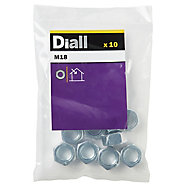 Diall M18 Carbon steel Lock Nut, Pack of 10
