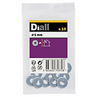 Diall M5 Carbon steel Flat Washer, Pack of 10
