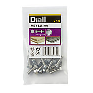Diall M5 Hex Stainless steel Bolt & nut (L)16mm, Pack of 10