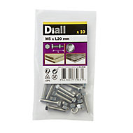 Diall M5 Hex Stainless steel Bolt & nut (L)20mm, Pack of 10