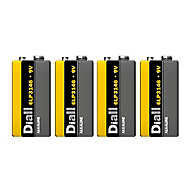 Diall Non rechargeable 9V Battery, Pack of 4