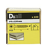 Diall PZ Double-countersunk Yellow-passivated Steel Wood screw (Dia)4mm (L)16mm, Pack of 100