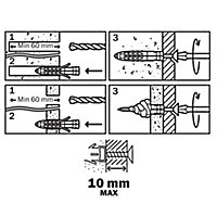 Diall Universal Nylon & steel Wall plug (L)50mm (Dia)10mm, Pack of 30