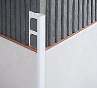 Diall White PVC Straight Tiling trim, 8mm