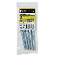 Diall Yellow-passivated Carbon steel Dowel screw (Dia)10mm (L)100mm, Pack of 5