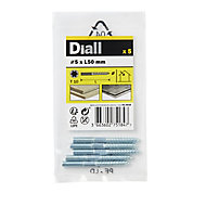 Diall Yellow-passivated Carbon steel Dowel screw (Dia)5mm (L)50mm, Pack of 5