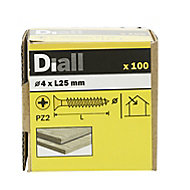 Diall Yellow-passivated Carbon steel Screw (Dia)4mm (L)25mm, Pack of 100