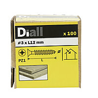 Diall Yellow zinc-plated Carbon steel Wood Screw (Dia)3.5mm (L)12mm, Pack of 100