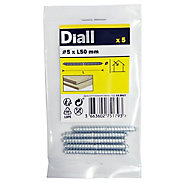 Diall Zinc-plated Carbon steel Dowel screw (Dia)5mm (L)50mm, Pack of 5