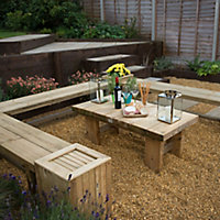 Double sleeper Wooden Natural timber Bench