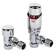 Drayton TRV4 Chrome-plated Angled Thermostatic Radiator valve & lockshield