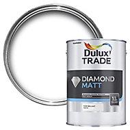 Dulux Trade Diamond Pure brilliant white Matt Emulsion paint 5L