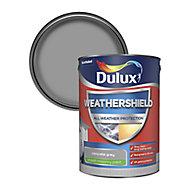 Dulux Weathershield All weather protection Concrete grey Smooth Matt Masonry paint, 5L