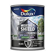 Dulux Weathershield Black Satin Multi-surface paint, 0.75L