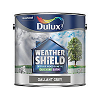 Dulux Weathershield Gallant grey Satin Metal & wood paint, 2.5L