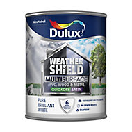 Dulux Weathershield Pure brilliant white Satin Multi-surface paint, 0.75L