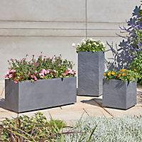 Durdica Dark grey Plastic Square Plant pot (Dia)40cm