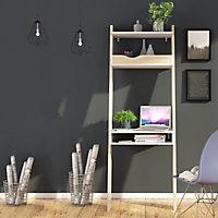 Ebru Matt white oak effect Painted Desk (H)1804mm (W)651mm (D)481mm