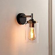 Edinburgh Matt Black Antique brass effect Wired Wall light